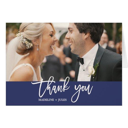 Elegant Navy & White Text Overlay Photo Thank You Card