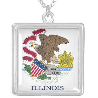 Elegant Necklace with Flag of Illinois