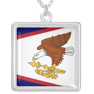 Elegant Necklace with Flag of the American Samoa
