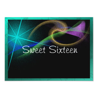 "Elegant Neon Fireworks Sweet Sixteen Invitation 4.5"" X 6.25"" Invitation Card"