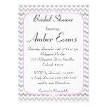 Elegant Neon Pink & Grey Chevron Bridal Shower Custom Invitation