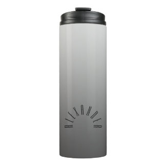 Elegant Neutral Gradient Silver with Custom Name Thermal Tumbler