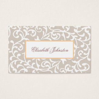 Elegant Neutral Tone Damask Feminine Floral Business Card