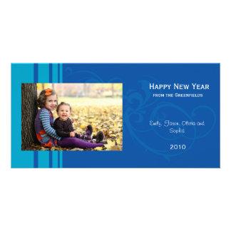 Elegant New Year photo card - blue