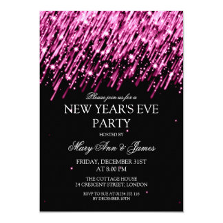 Elegant New Years Eve Party Pink Stars & Sparkles Card