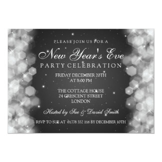 Elegant  New Years Eve Party Sparkle Black 13 Cm X 18 Cm Invitation Card