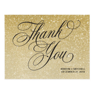 Elegant New Years Eve Wedding Thank You Postcard