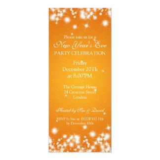 Elegant New Years Eve Winter Sparkle Orange 10 Cm X 24 Cm Invitation Card