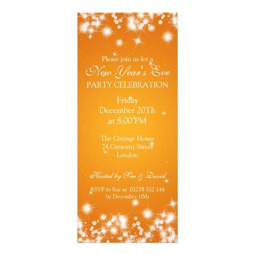 Elegant New Years Eve Winter Sparkle Orange Invites