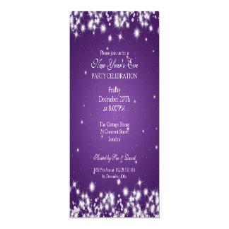 Elegant New Years Eve Winter Sparkle Purple 10 Cm X 24 Cm Invitation Card