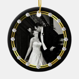 Elegant Newly Wed Photo Ornament
