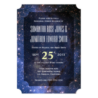Elegant Night Sky / Space Theme Rehearsal Dinner Card