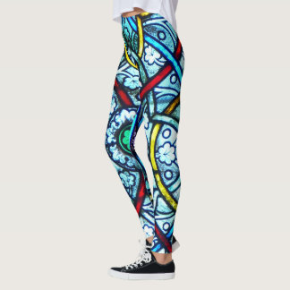 Elegant Notre Dame Paris Stained Glass Pattern Leggings