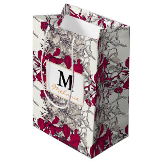Elegant Nouveau Art vintage floral painting Medium Gift Bag