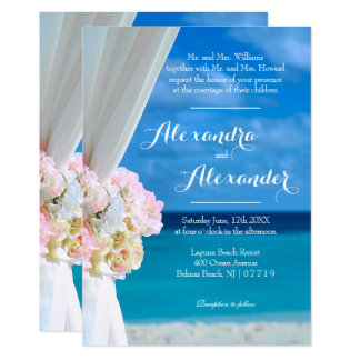 Elegant Ocean Beach Summer Wedding Invitation