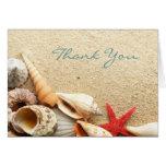 elegant ocean seashells beach wedding thank you note card