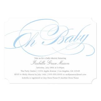Elegant Oh Baby In Blue | Baby Shower Invitation