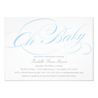 Elegant Oh Baby In Blue | Baby Shower Invitation