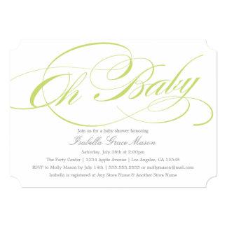 Elegant Oh Baby In Green | Baby Shower Invitation