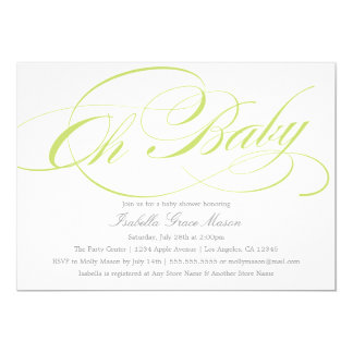 Elegant Oh Baby In Green | Baby Shower Invitation