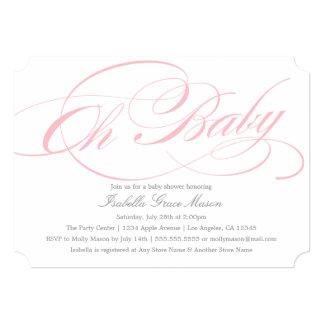 Elegant Oh Baby In Pink | Baby Shower Invitation