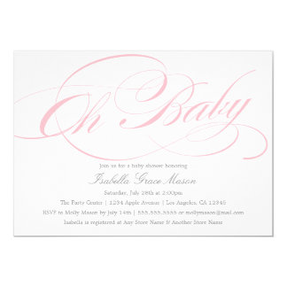 Elegant Oh Baby In Pink | Baby Shower Invitation