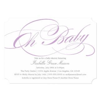 Elegant Oh Baby In Violet | Baby Shower Invitation