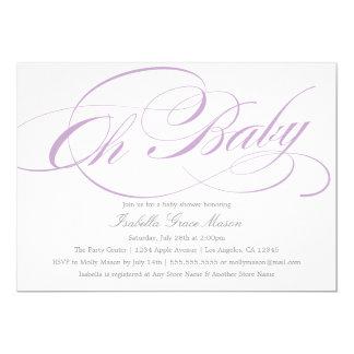 Elegant Oh Baby In Violet   Baby Shower Invitation