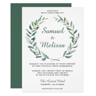 Elegant Olive Branch Watercolor Wedding Invitation