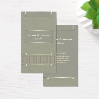 Elegant olive drab and gold business card