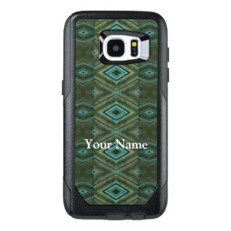 Elegant Olive Green Turquoise Diamond Pattern OtterBox Samsung Galaxy S7 Edge Case