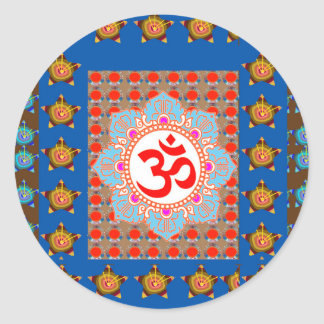 Elegant OmMANTRA Mantra: Yoga Meditation Healing A Classic Round Sticker