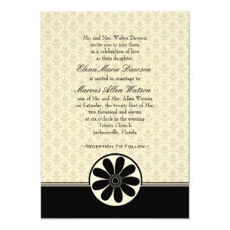 Elegant Onyx Damask Wedding Invitation