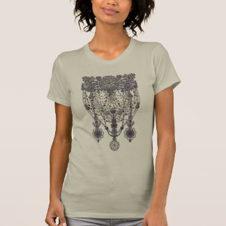 elegant openwork necklace with lace and beads tshirt