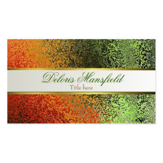 Elegant Orange and Green Foil Look Business Card