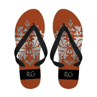 Elegant Orange and Grey Damask Monogrammed Flip Flops