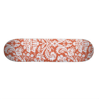 Elegant Orange Damask Skate Decks