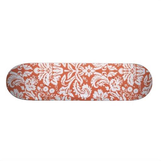 Elegant Orange Damask Skate Decks