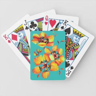 Elegant Orange Flowers - Aqua Bicycle Playing Cards