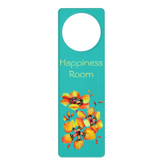 Elegant Orange Flowers - Aqua - Happiness Room Door Hanger