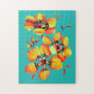 Elegant Orange Flowers -Aqua Jigsaw Puzzle