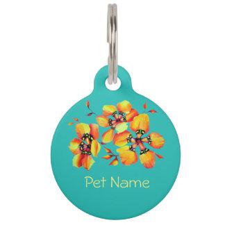 Elegant Orange Flowers - Aqua Pet ID Tag