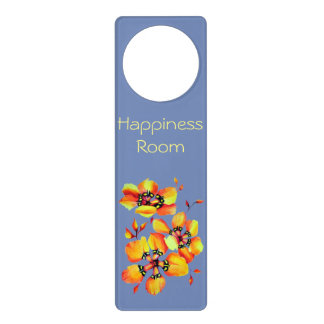 Elegant Orange Flowers - Blue - Happiness Room Door Hanger