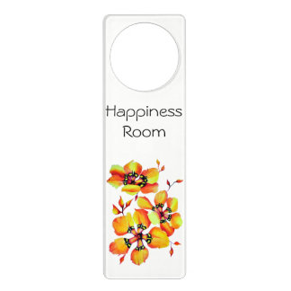 Elegant Orange Flowers- Happiness Room Door Hanger