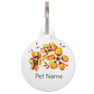 Elegant Orange Flowers Pet Name Tag