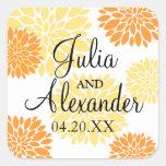 Elegant Orange Light Yellow Floral Burst Wedding Square Stickers