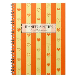 Elegant Orange Stripes Modern Heart Pattern Notebooks