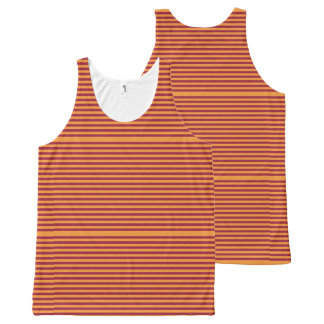 Elegant Orange Stripes on Burgundy. All-Over Print Singlet