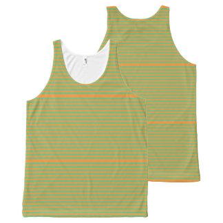 Elegant orange Stripes on Spring Green. All-Over Print Singlet