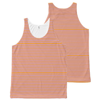 Elegant orange Stripes on Spring Pink. All-Over Print Singlet